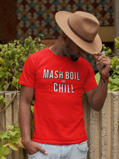 Mash, Boil and Chill Homebrewing T-Shirt Action Shot