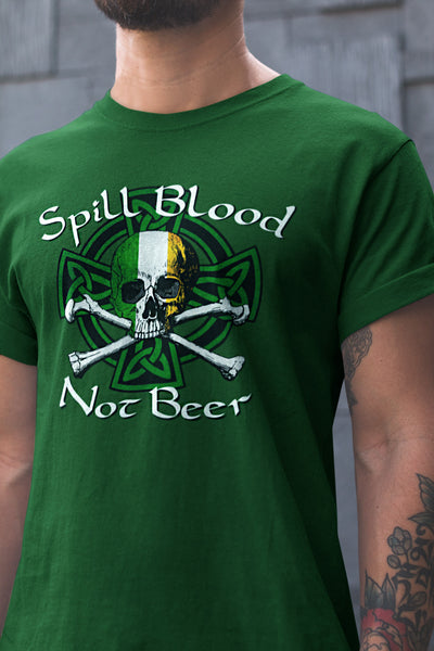 Spill Blood Not Beer St. Patrick's Day Beer T-Shirt Action Shot