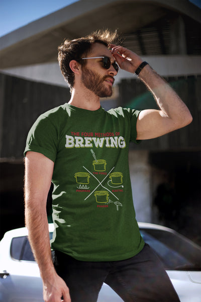 The Four Methods of Homebrewing Craft Beer T-Shirt Action Shot