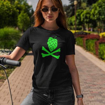 Green Hops and Crossbones Craft Beer T-Shirt