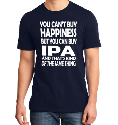 You Can't Buy Happiness but You Can Buy IPA Beer T-Shirt on Model Navy
