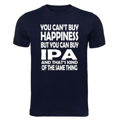 You Can't Buy Happiness but You Can Buy IPA Beer T-Shirt Flat Navy