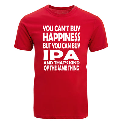 You Can't Buy Happiness but You Can Buy IPA Beer T-Shirt Flat Red