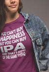 Women's You Can't Buy Happiness but You Can Buy IPA T-Shirt Action Shot