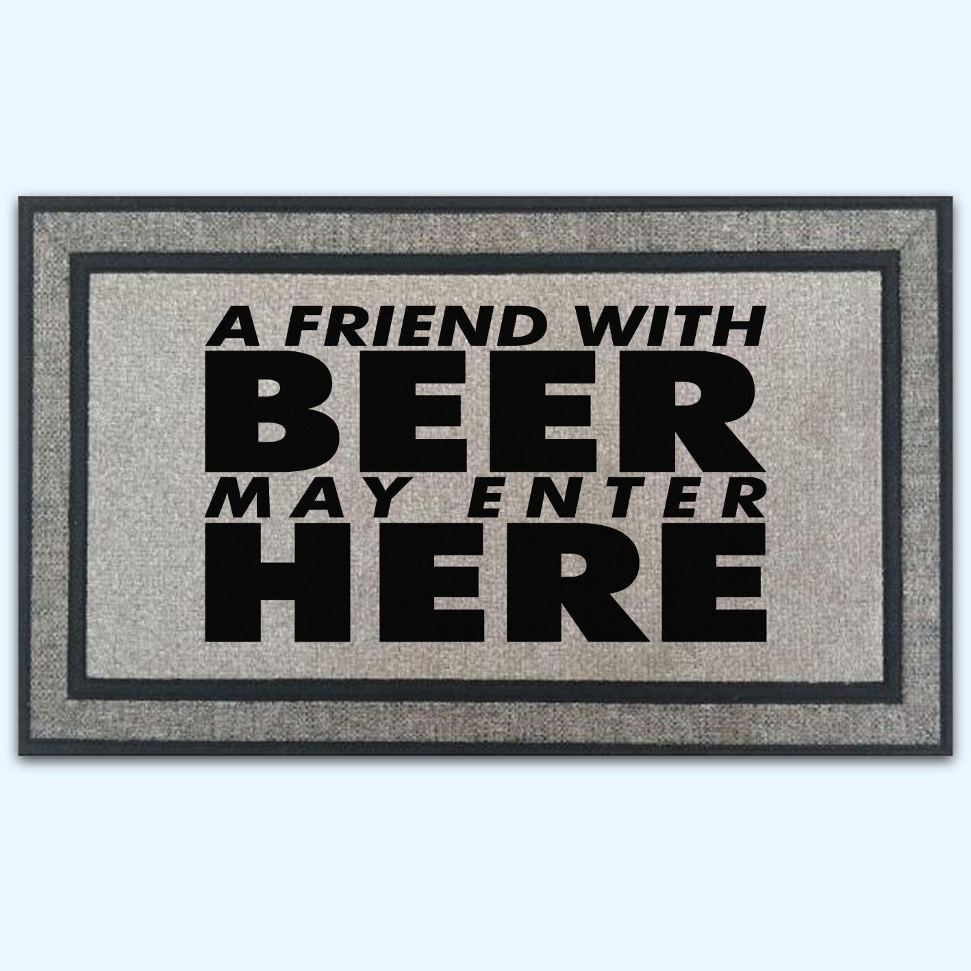 A Friend With Beer May Enter Here Door Mat