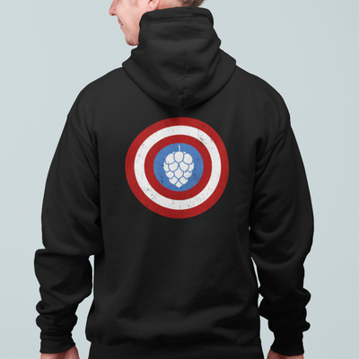 Captain Hop Cone America Shield Beer Zip Up Hoodie