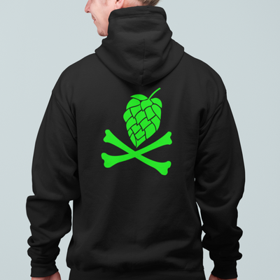 Green Hops and Crossbones Craft Beer Zip Up Hoodie