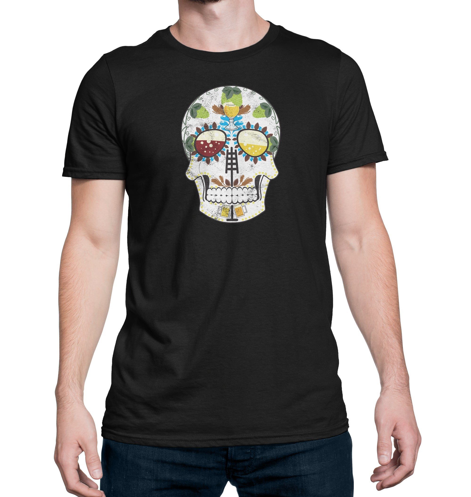 The Brewers Sugar Skull Craft Beer T-Shirt on Model
