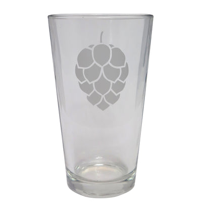 Hop Cone Etched Beer Glass