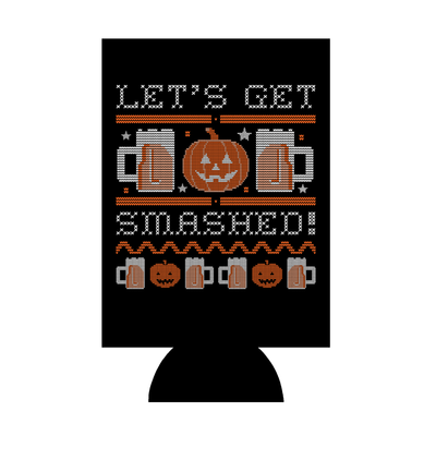 Let's Get Smashed Ugly Halloween Sweater Beer Can Hugger