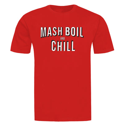 Mash, Boil and Chill Homebrewing Craft Beer T-Shirt Flat