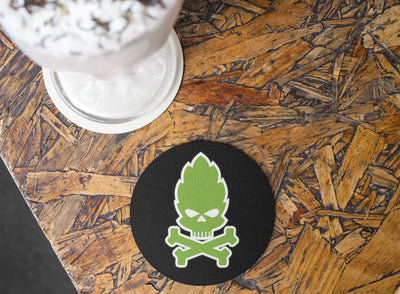 Hop Skull Round Beer Coaster Action Shot Rubber