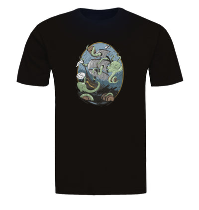 Giant Octopus Wants Beer Black T-Shirt Flat