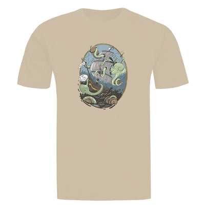 Giant Octopus Wants Beer Tan T-Shirt Flat