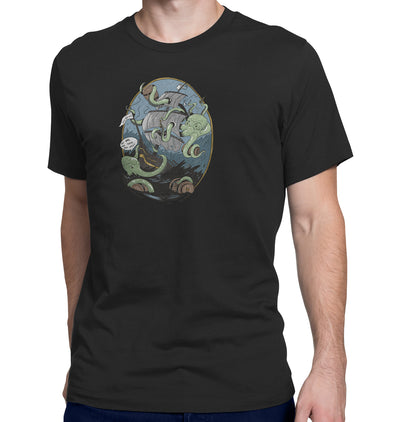 Giant Octopus Wants Beer Black T-Shirt on Model