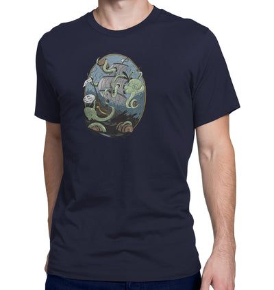 Giant Octopus Wants Beer Navy T-Shirt on Model