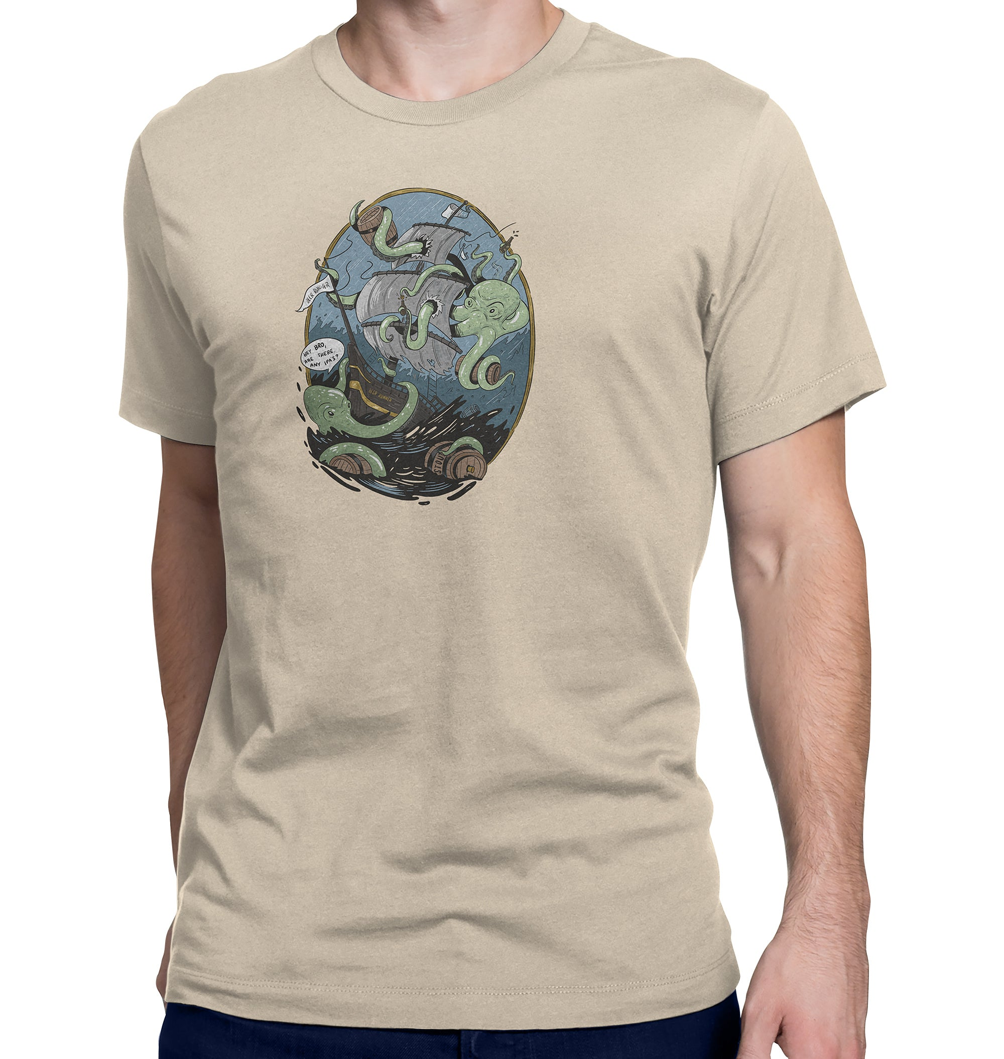 Giant Octopus Wants Beer Tan T-Shirt on Model