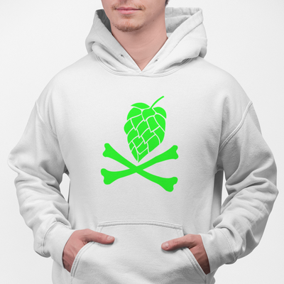 Green Hops and Crossbones Craft Beer Pullover Hoodie