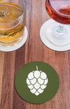 Hop Cone Beer Round Beer Coaster Action Shot Green