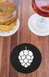 Hop Cone Beer Round Beer Coaster Action Shot Black