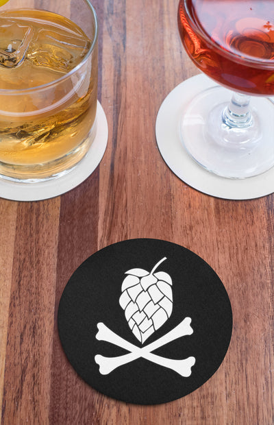 Hops and Crossbones Round Beer Coaster Action Shot
