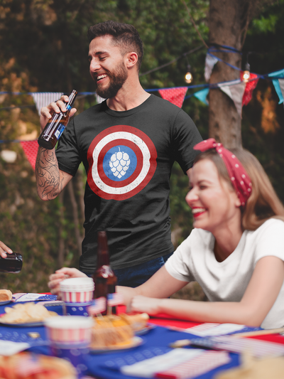 Captain Hop Cone America Shield Beer T-Shirt Action Shot