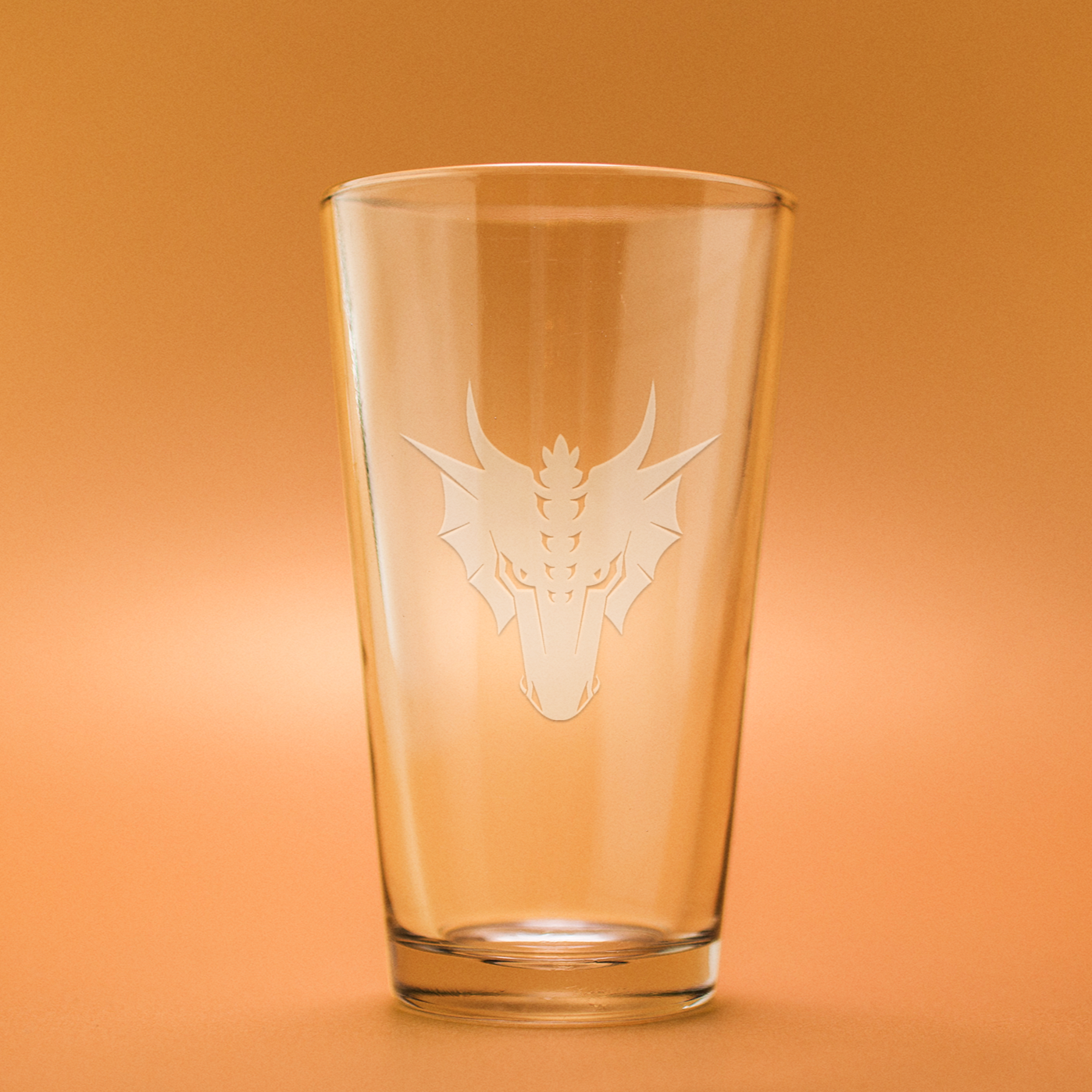 Dragon Head Etched Beer Glass