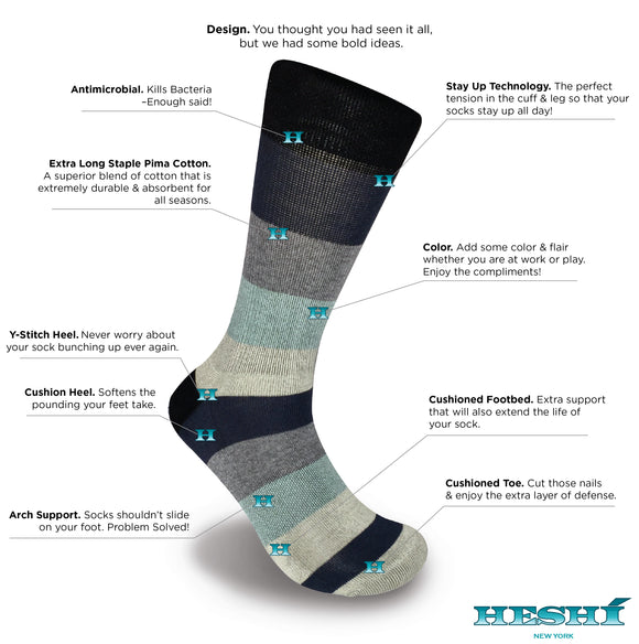 Heshí Rugby Five Sock - Blue/Black
