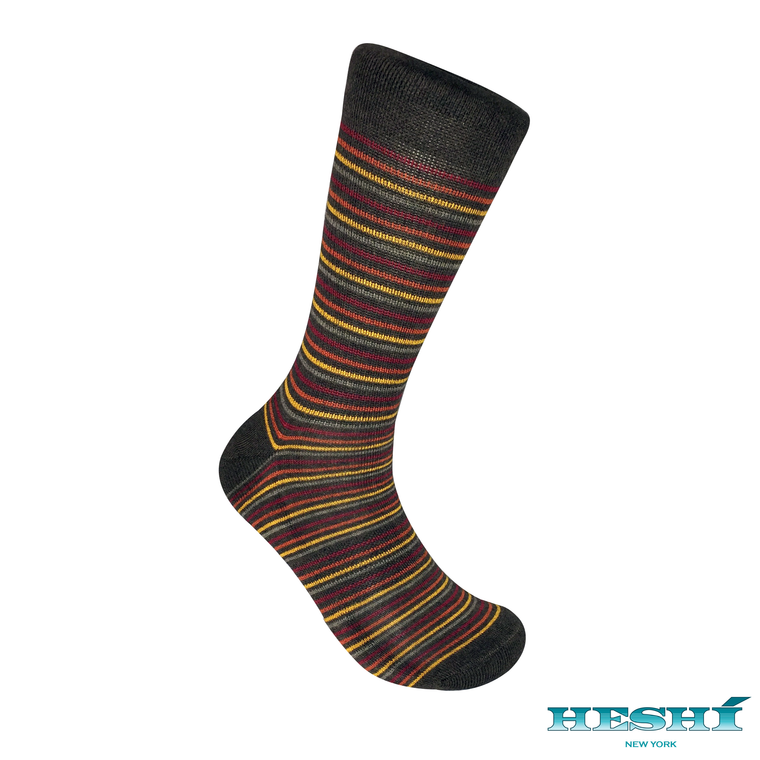 Heshí Thin Stripe Sock - Brown