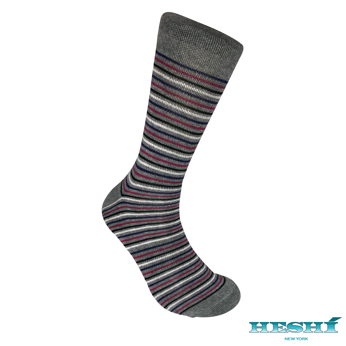 Heshí Thin Stripe Sock - Heather Grey