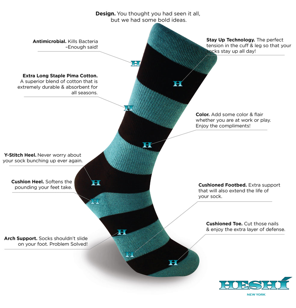 Heshí Rugby Stripe Sock - Blue/Black