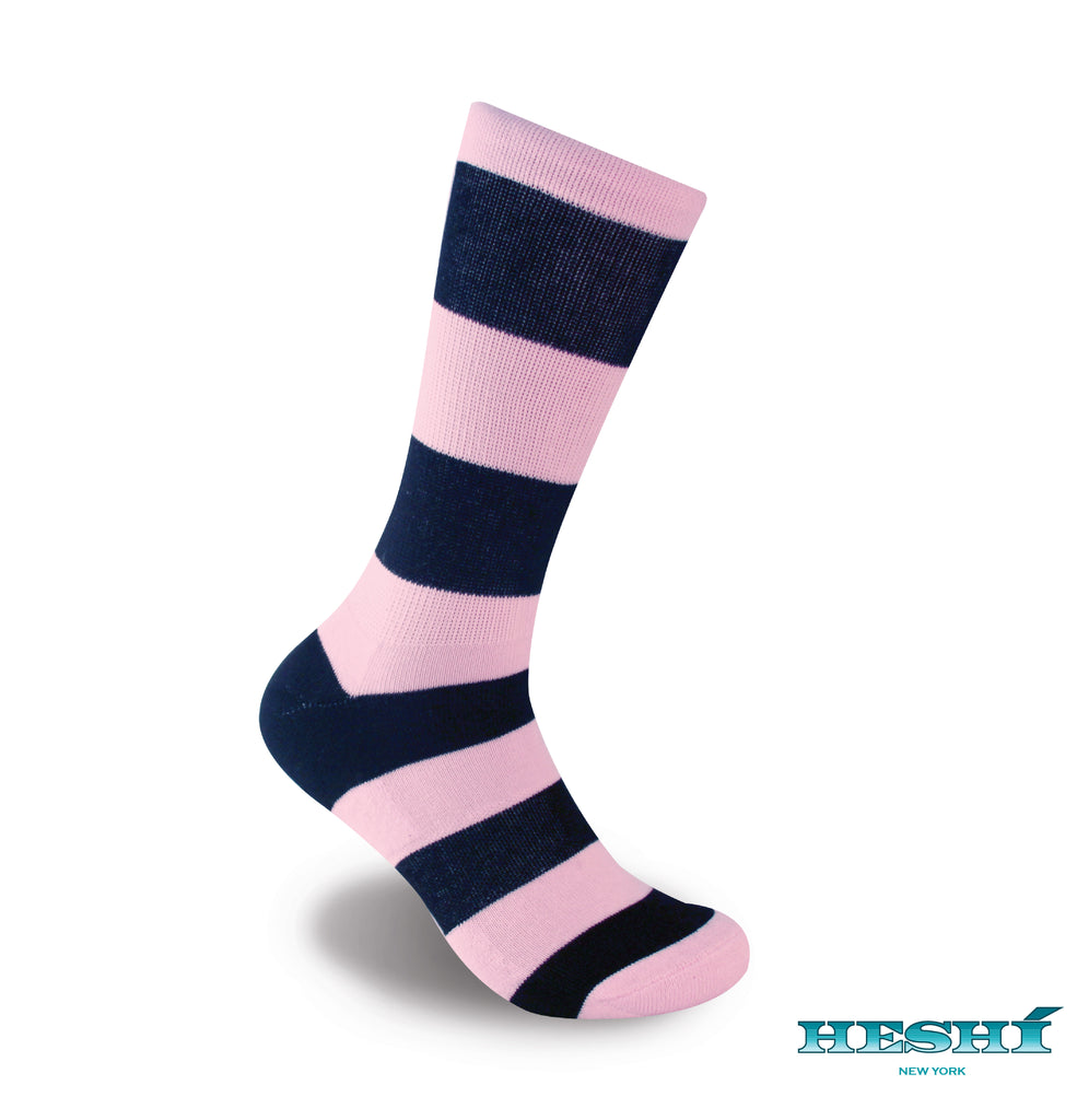 Heshí Rugby Stripe Sock - Pink/Black