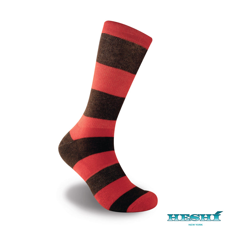 Heshí Rugby Stripe Sock - Orange/Brown
