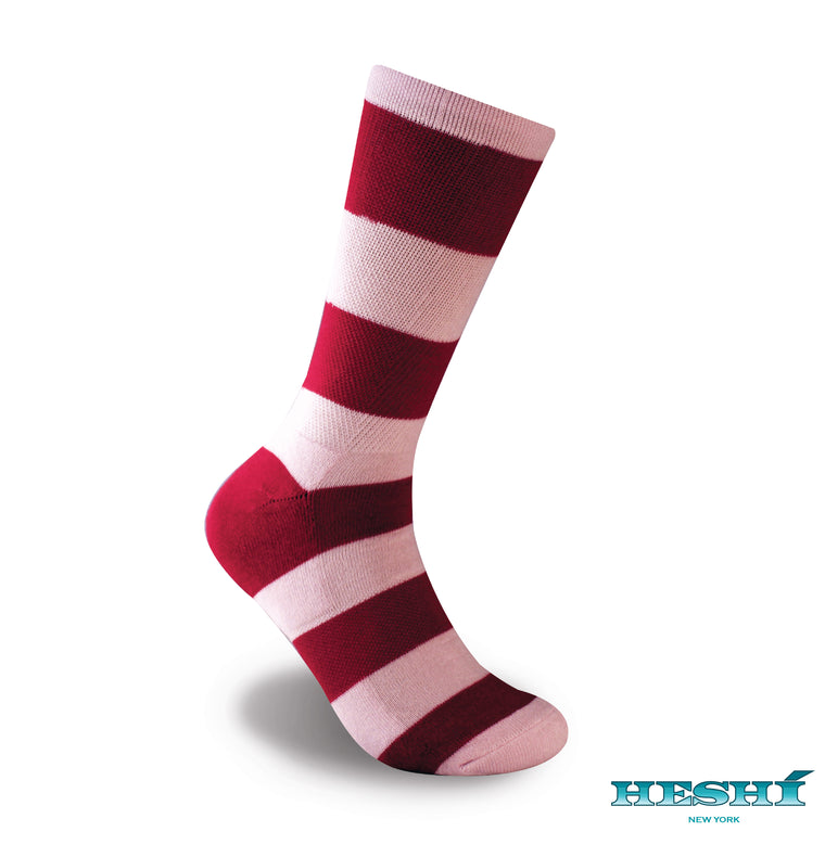 Heshí Rugby Stripe Sock - Pink/Red
