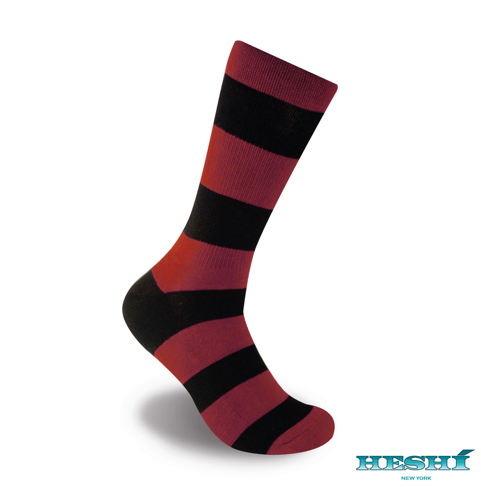 Heshí Rugby Stripe Sock - Red/Black