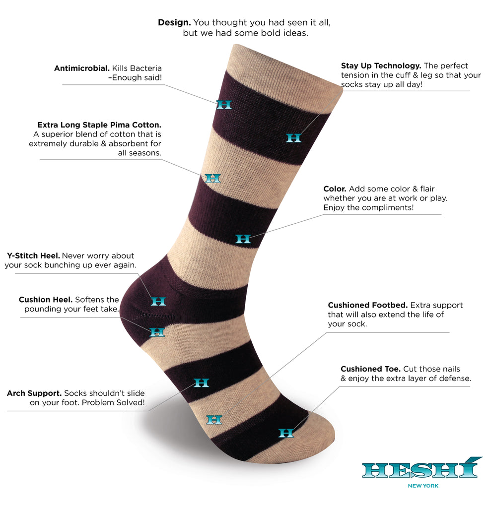 Heshí Rugby Stripe Sock - Sand/Port