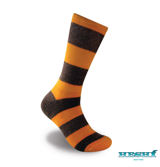 Heshí Rugby Stripe Sock - Yellow/Brown