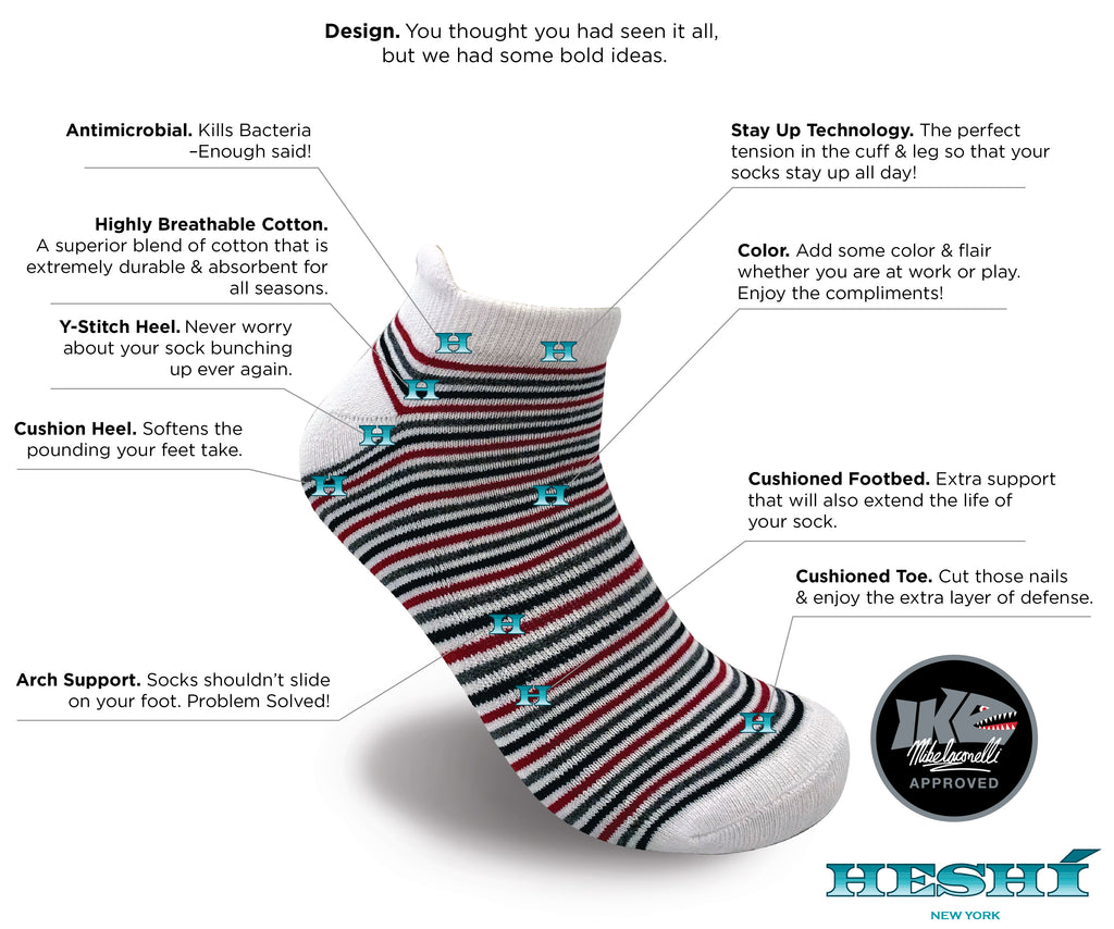 Heshí Ankle Sock - Iaconelli White Stripe