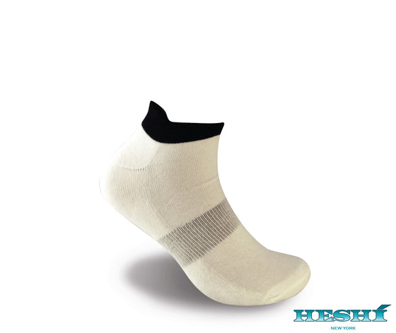 Heshí Ankle Sock - White w Black Trim