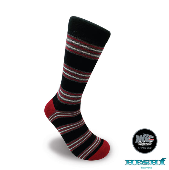 Heshí Cluster Stripe Sock - Iaconelli Red/Black
