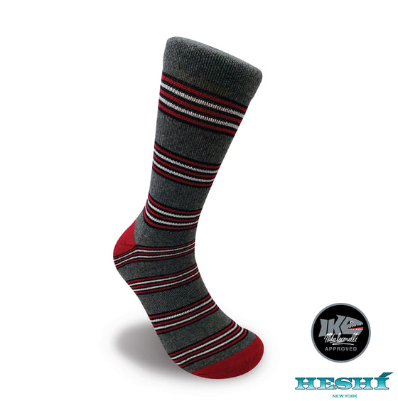 Heshí Cluster Stripe Sock - Iaconelli Red/Grey