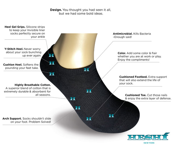 Heshí Invisible Liner Sock - Black