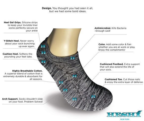 Heshí Invisible Liner Sock - Heathered Black