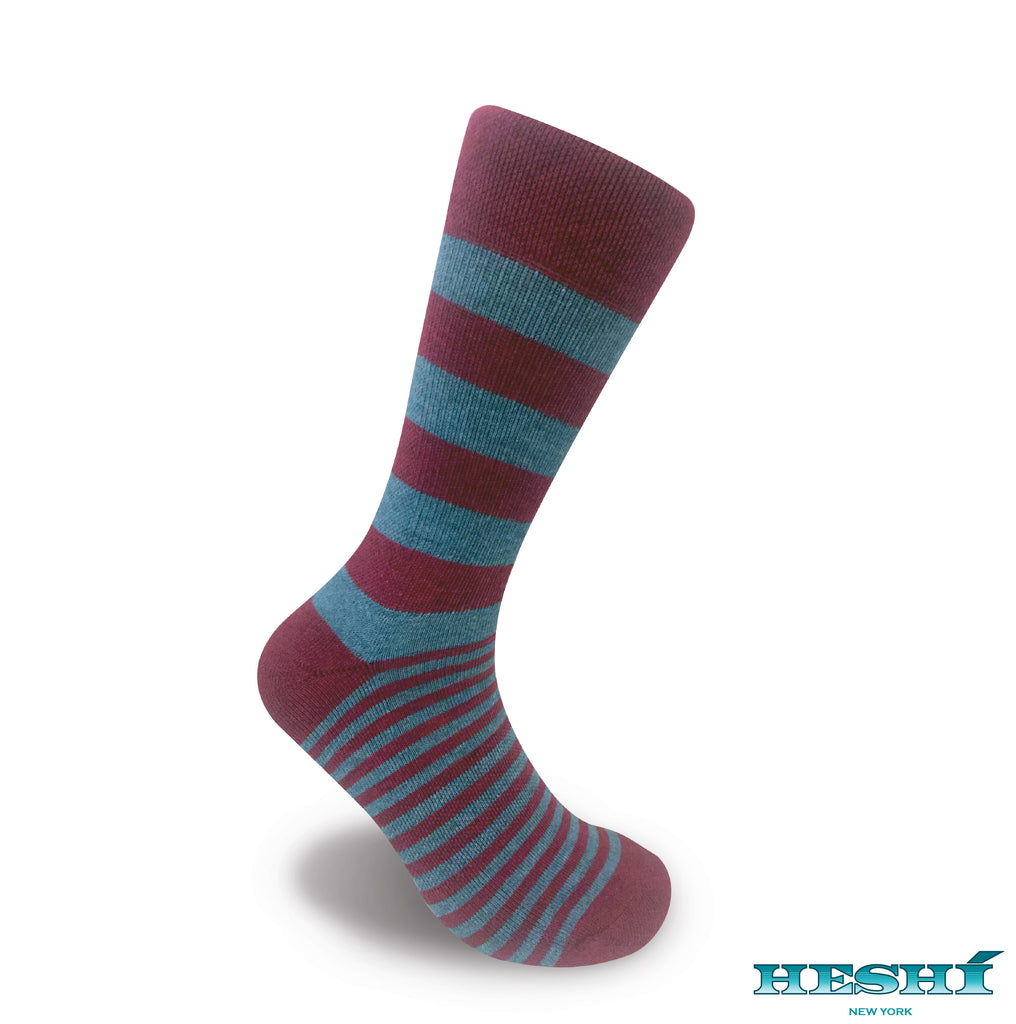 Heshí Alt Stripe - Red / Heather Blue