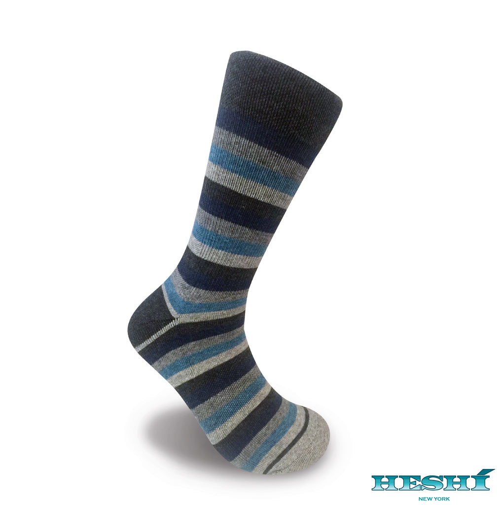 Heshí Medium Stripe - Heather Grey / Heather Blue