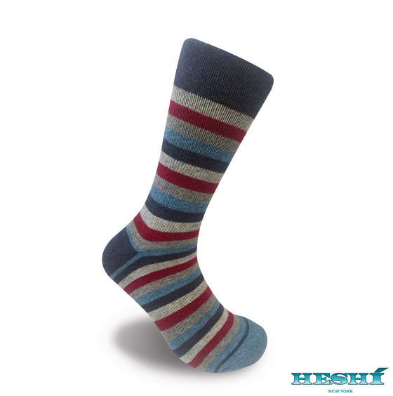 Heshí Medium Stripe - Heather Blue / Red