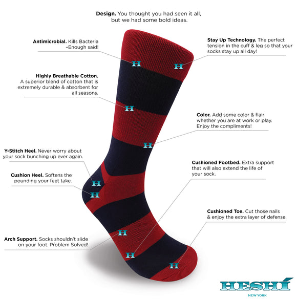 Heshí Rugby Stripe Sock - Red/Blue