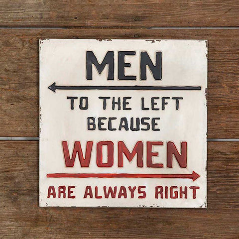 Women Are Always Right Metal Wall Sign