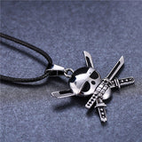 Skull and Cross Swords Pirate Pendant on Leather Rope - Strong Wired