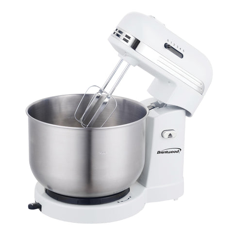 5 Speed White Stand Mixer with 3 Quart Stainless Bowl